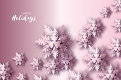 Origami Christmas Greetings card. Paper cut snow flake. Happy New Year. Winter snowflakes background. Space for text. Holidays. Purple background. Vector Royalty Free Stock Image