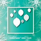 Origami Christmas and New Year ball background with snowflakes. Stock Images