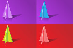 Origami Christmas tree. Backgrounds with different color variations Royalty Free Stock Images
