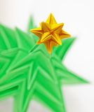 Origami - a Christmas tree. Origami - a Christmas green tree with star stock photo