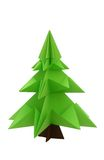 Origami christmas tree. On white background Stock Photo