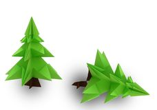 Origami christmas tree. On white background Stock Images