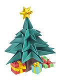 An origami Christmas tree. With a yellow star on its top and presents under it, isolated on a white background royalty free stock photography