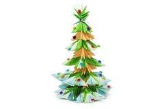 Origami Christmas tree. Isolated on white background Royalty Free Stock Photo