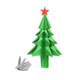 Origami christmas tree Stock Images