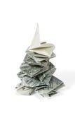 Origami Christmas tree made of dollar Stock Photos