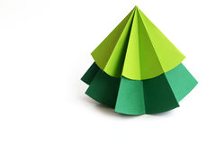 Origami Christmas tree paper on white background Royalty Free Stock Photo