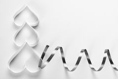 Origami Christmas tree with ribbon decoration Stock Photography