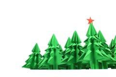 Origami christmas trees Stock Photo