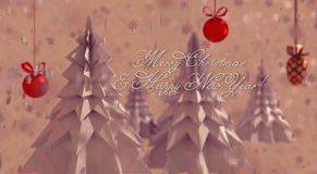 Origami Christmas trees on the pink, snowy background royalty free illustration