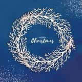 Origami Christmas Wreath. Paper cut tree branch .   Stock Photography