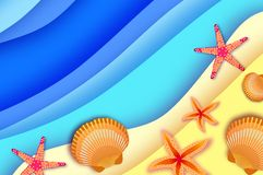 Origami clam mollusc shells. Exotic Wave and sand in Paper cut art. Text. Summer Sale.. Special offer. Poster Flyer. Top. View. Vector Stock Photo