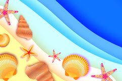 Origami clam mollusc shells. Exotic Wave and sand in Paper cut art. Text. Summer Sale.. Special offer. Poster Flyer. Top. View. Vector Royalty Free Stock Photo
