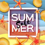 Origami clam mollusc shells. Summer Sale. Exotic Paper cut art. Square frame. Text. Special offer. Poster Flyer. Vector Royalty Free Stock Images