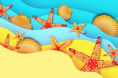 Origami clam mollusc shells. Summertime. Beautiful seascape in paper cut style. Stock Photography