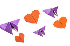 Origami coeur et papillons Photographie stock