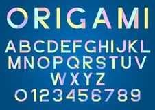 Origami, colored paper alphabet and numbers with shadow. EPS10 royalty free illustration