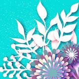 Origami colorful Flowers with twig, leaves.Abstract 3D Paper cut. Origami colorful Flowers with twig, leaves and grass. Abstract 3D Paper cut Floral Greeting Royalty Free Stock Photo