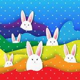 Origami Colorful Rainbow Greeting card with Happy Easter - with white Easter rabbit. Stock Images