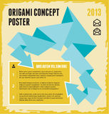 Origami Concept Poster. Vector images in origami style for design presentations, brochures, advertising layout, infographics and other designer products Royalty Free Stock Images