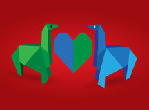 Origami couple horse Stock Image
