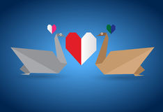 Origami Couple Swan Stock Photos
