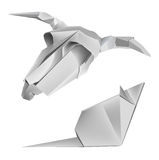 Origami_cow_skull_mouse. Illustration of folded paper models caw skull and mouse Stock Photography