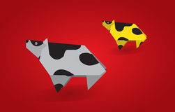 Origami cows Royalty Free Stock Photos