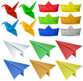 Origami craft with birds and planes. Illustration Royalty Free Stock Photography