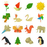 Origami craft icons set, cartoon style Stock Photography