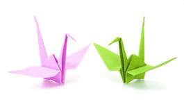 Origami crane. Pink and green origami crane royalty free stock images