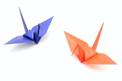 Origami Crane. The Origami Crane isolated on a white background stock photography