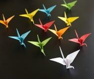 Origami crane birds Stock Photo