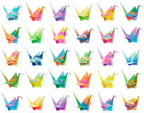 Origami crane chart. A collection of 30 colourful origami birds. They're all isolated on a pure white background therefore easy to be rearranged into different Royalty Free Stock Images