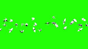Origami Crane On Green Chroma Key stock illustratie
