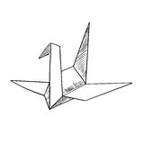 Origami crane paper bird sketch icon Stock Images