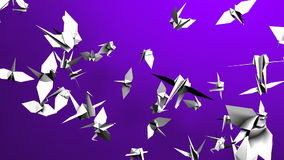Origami Crane On Purple Background royalty-vrije illustratie