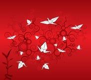 Origami cranes el papel pintado Foto de archivo