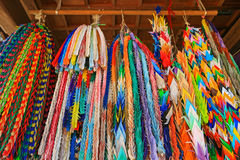 Origami cranes, long prayer strings hanging at Hokkeji Temple in Royalty Free Stock Images