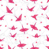 Origami cranes in love on the branches seamless vector print Royalty Free Stock Photos