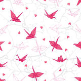 Origami cranes in love on the branches seamless vector print. EPS10 Stock Photography