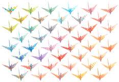 Origami cranes pattern. 44 different paper birds isolated on a white background Royalty Free Stock Image