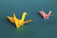 Origami cranes in tandem Royalty Free Stock Photography