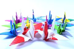 Origami cranes Stock Images