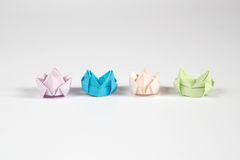 Origami crown. Pastale colour for isolate stock illustration