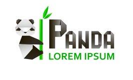 Origami 3d document panda op een witte achtergrond Vector illustratie Stock Foto's