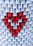Origami 3d med hjärta Arkivbilder