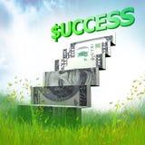 Origami da escada do dinheiro no prado ilustração royalty free