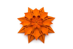 Origami Dahlia Flower. Orange paper origami dahlia flower Royalty Free Stock Images