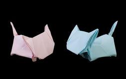 Origami de deux chats Photographie stock libre de droits